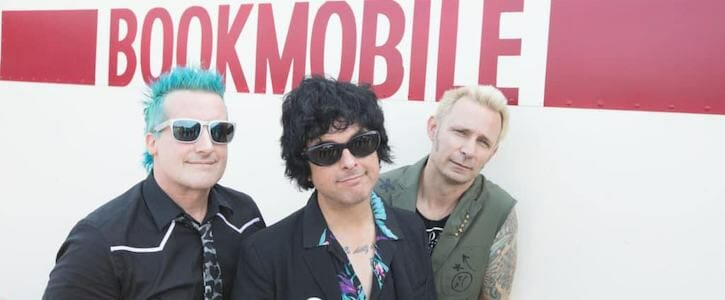 Green Day infront of restored Bookmobile