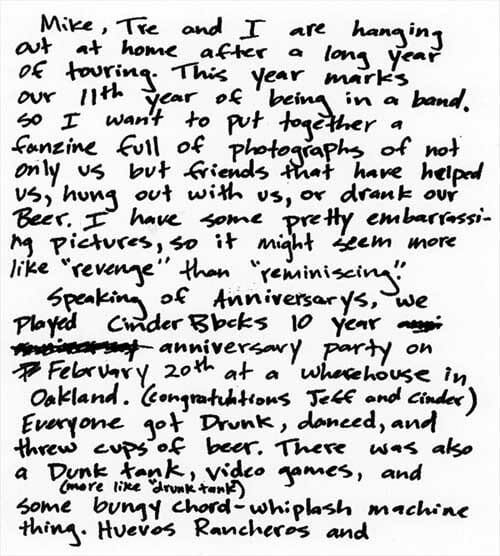 Billie Joe Armstrong Letter To The Fans Pg 1