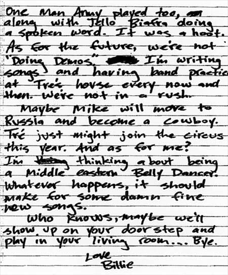 Billie Joe Armstrong Letter To The Fans Page 2