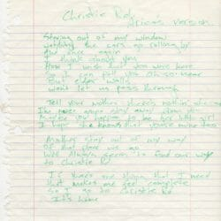 Billie Joe Armstrong handwritten lyrics for Christie Road