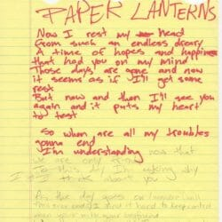 Billie Joe Armstrong handwritten lyrics for Paper Lanterns