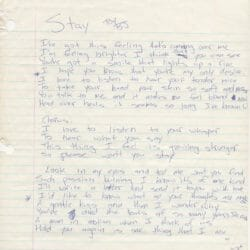 Billie Joe Armstrong handwritten lyrics for Stay