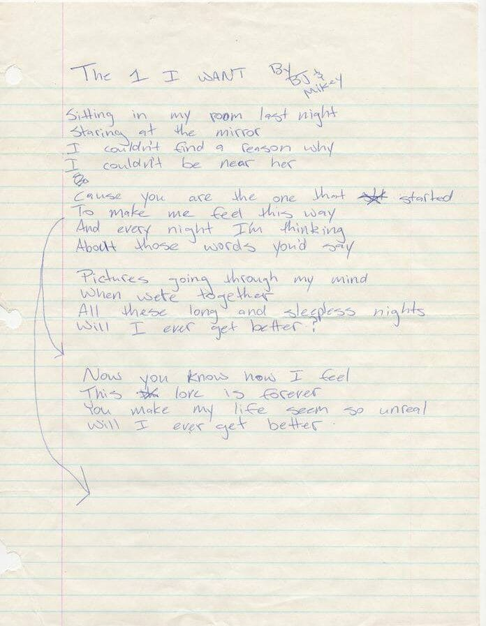 Billie Joe Armstrong handwritten lyrics for The One I Want