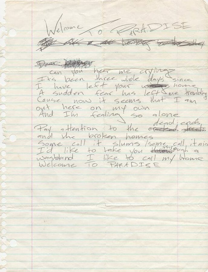 Billie Joe Armstrong handwritten lyrics for Welcome To Paradise