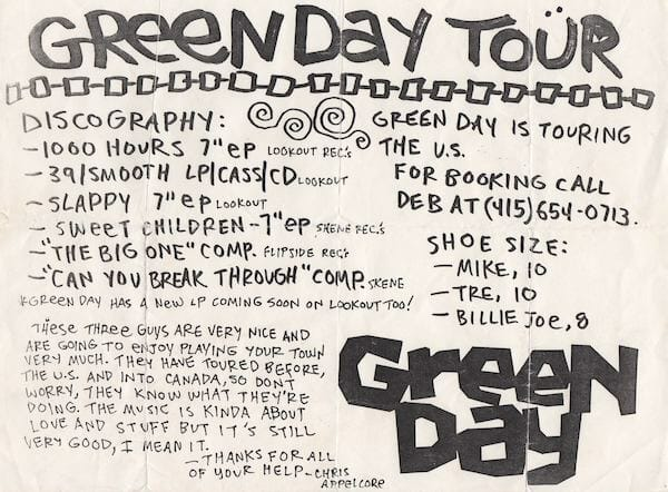 Green Day Tour Flyer