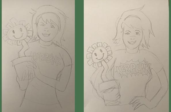Kerplunk girl sketches by Chris Appelgren