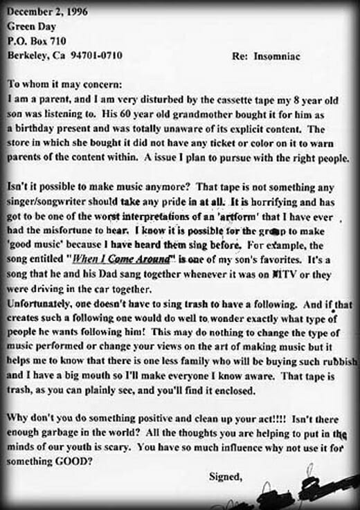 Angry parents letter to Billie Joe Armstrong
