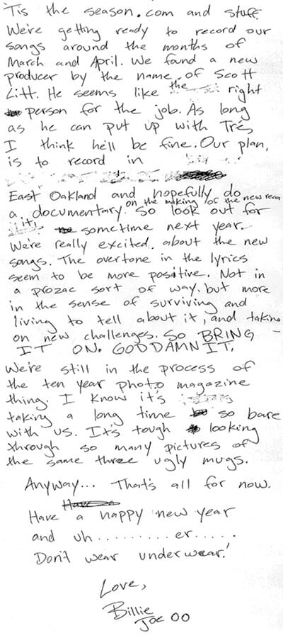 Billie Joe Armstrong Christmas Letter To Fans