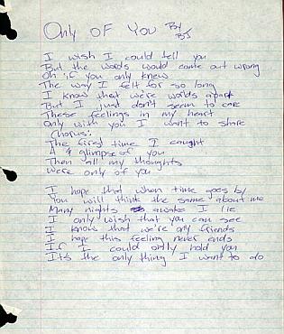 Only Of You handwritten lyrics