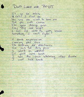 Don't Leave Me handwritten lyrics